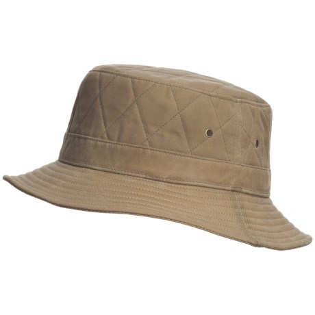 Woolrich Bucket Hat - Cotton Oilcloth (For Men and Women) in Tan