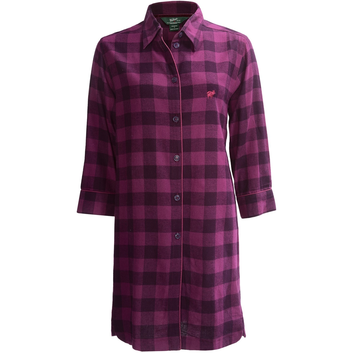 Woolrich buffalo check flannel nightshirt long sleeve for Womens flannel night shirts