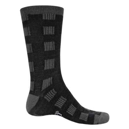 Woolrich Buffalo Check Socks - Merino Wool, Crew (For Men and Women) in Mid Grey/Jet - Closeouts