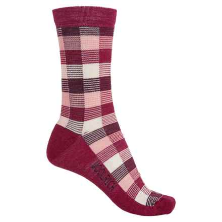 Woolrich Buffalo Check Socks - Merino Wool, Crew (For Women) in Beet Red - Closeouts