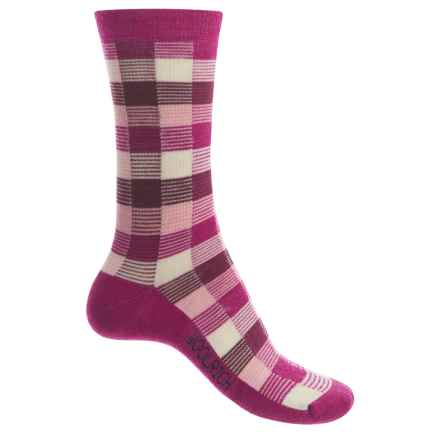 Woolrich Buffalo Check Socks - Merino Wool, Crew (For Women) in Berry - Closeouts