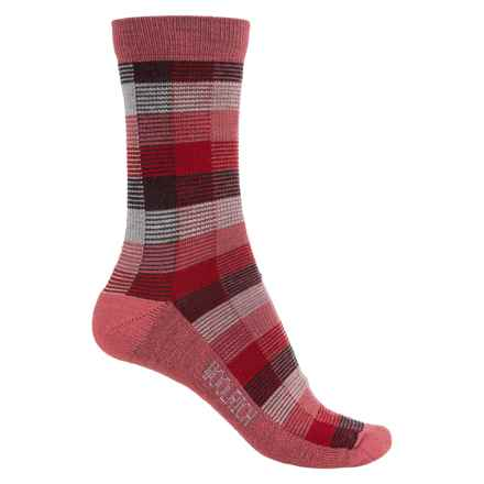Woolrich Buffalo Check Socks - Merino Wool, Crew (For Women) in Poppy - Closeouts