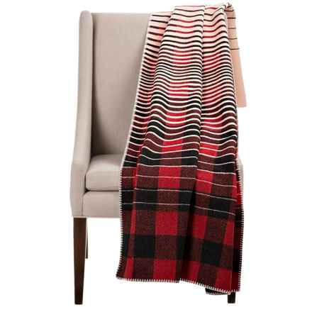 "Woolrich Buffalo Fade Out Wool Throw Blanket - 50x70"" in Red - Closeouts"