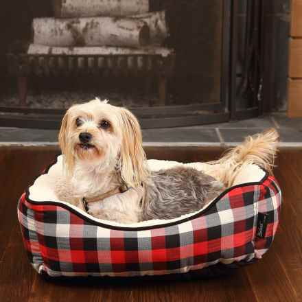 "Woolrich Buffalo Plaid Cuddler Dog Bed - 20x18"" in Red/Black - Closeouts"