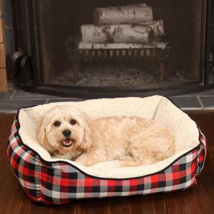 "Woolrich Buffalo Plaid Cuddler Dog Bed - 28x23"" in Red/Black - Closeouts"