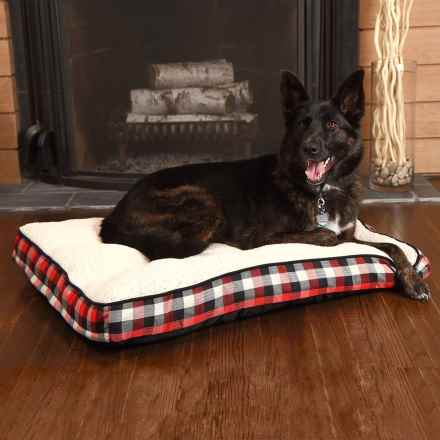 "Woolrich Buffalo Plaid Gusseted Dog Bed - 36x27"" in Red/Black - Closeouts"