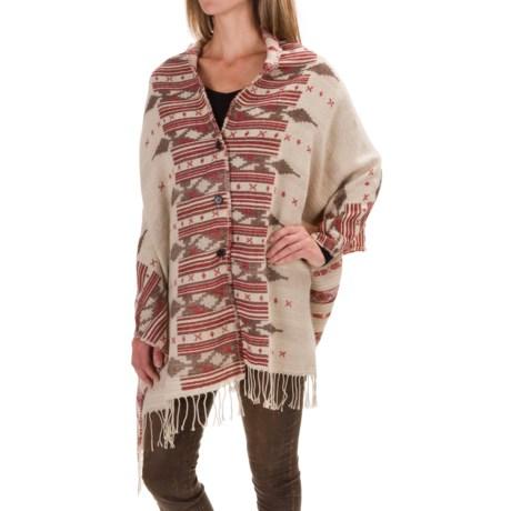 Woolrich Button Wrap (For Women) in Birch Ikat Wool Cream
