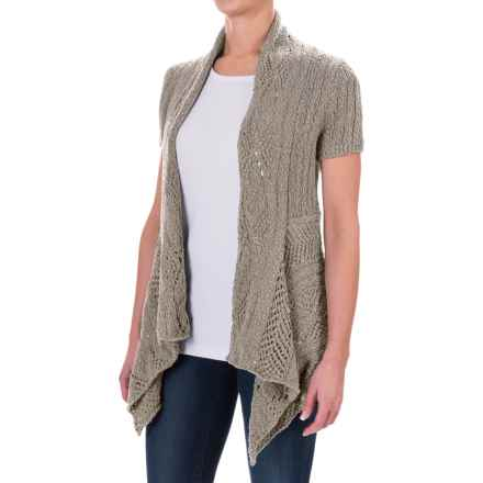 Woolrich Cable Hollow Cardigan Sweater - Cotton (For Women) in Dark Stone - Closeouts
