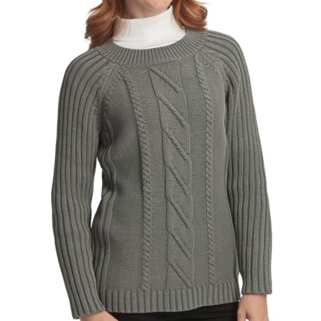 Woolrich Cable-Knit Sweater - Raglan Sleeve (For Women) in Charcoal