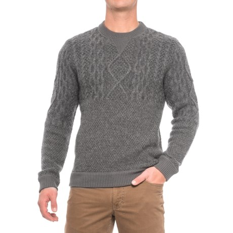 Woolrich Cable V-Neck Sweater - Lambswool Blend (For (Men) in Gray Heather