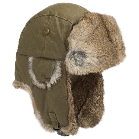 Woolrich Canvas Aviator Hat - Rabbit Fur, Insulated (For Men and Women) in Olive