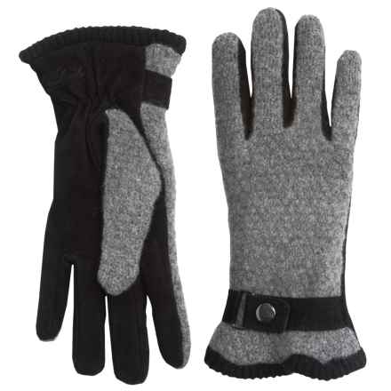 Woolrich Century Gloves - Suede-Wool, Fleece Lined (For Women) in Charcoal - Closeouts