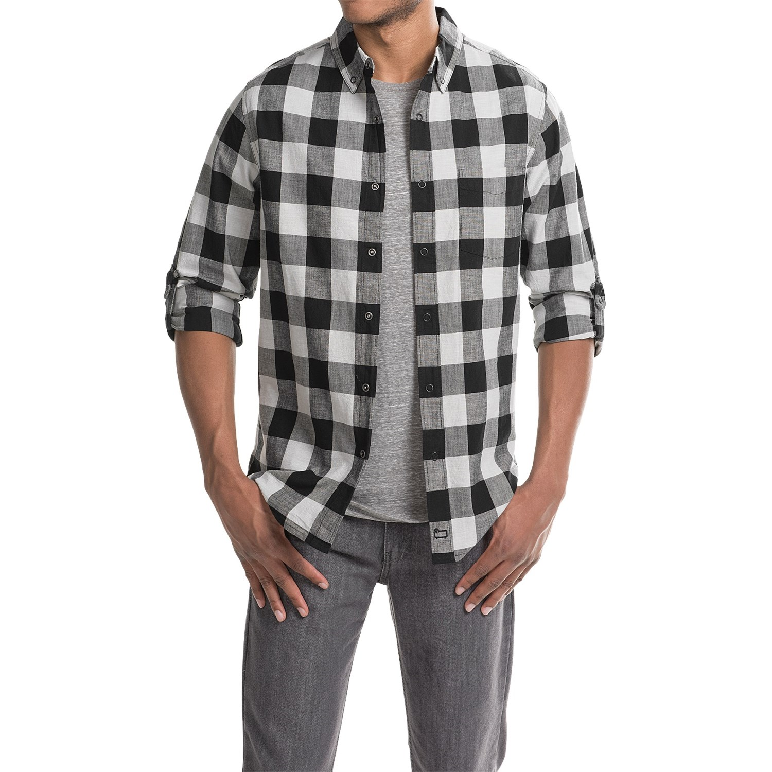 woolrich chambray buffalo check shirt for men