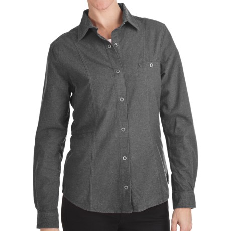 Woolrich Chamois Flannel Shirt - Snap Front, Long Sleeve (For Women) in Charcoal Heather