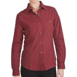 Woolrich Chamois Flannel Shirt - Snap Front, Long Sleeve (For Women) in Ruby Heather