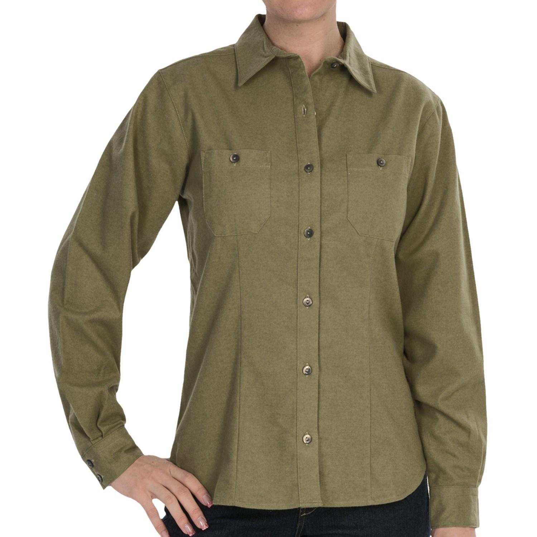 Woolrich Chamois Shirt Button Up Long Sleeve For Women