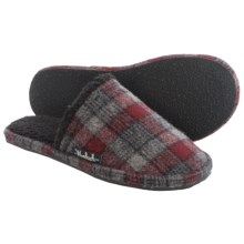 Woolrich Chatham Slide Wool Slippers (For Men) in Grey/Red Plaid Wool - Closeouts