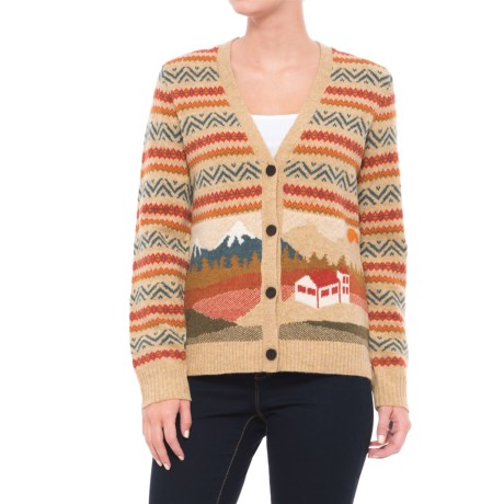 Woolrich Chimney Peak Holiday Motif Cardigan Sweater - Lambswool (For Women) in Fall Motif