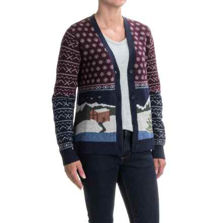 Woolrich Chimney Peak Holiday Motif Cardigan Sweater - Lambswool (For Women) in Night Time Motif - Closeouts