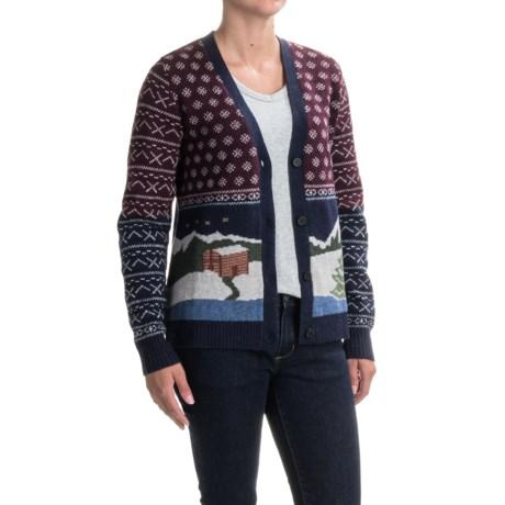 Woolrich Chimney Peak Holiday Motif Cardigan Sweater - Lambswool (For Women) in Night Time Motif