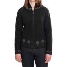 Woolrich Christmas Tree Cardigan Sweater - Zip Front (For Women) in Black - Closeouts