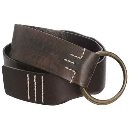 Woolrich Circle Ring Buckle Leather Belt (For Women) in Brown/Black - Closeouts