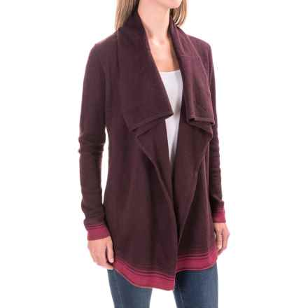 Woolrich Clapshaw II Long Cardigan Sweater - Wool Blend, Open Front (For Women) in Burgundy Multi - Closeouts