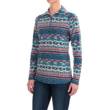 Woolrich Colwin Fleece Shirt - Zip Neck, Long Sleeve (For Women) in Seaport Print - Closeouts