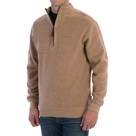 Woolrich Cotton Bromley Sweater - Zip Neck (For Men) in Camel Heather