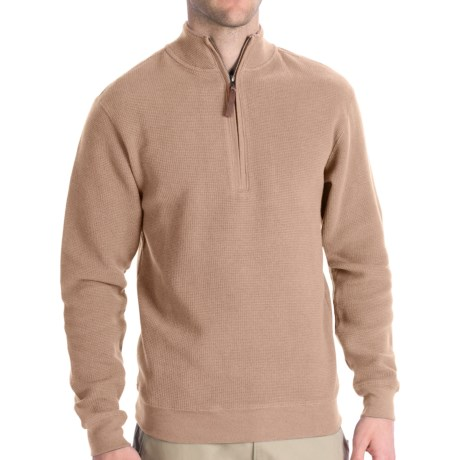 Woolrich Cotton Bromley Sweater - Zip Neck (For Men) in Oatmeal Heather