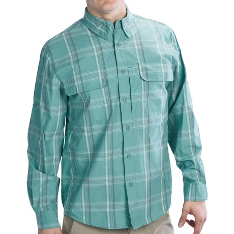 Woolrich Cross Country Pattern Tech Shirt - UPF 40+, Roll-Up Long Sleeve (For Men) in Azure