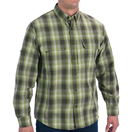 Woolrich Cross Country Pattern Tech Shirt - UPF 40+, Roll-Up Long Sleeve (For Men) in Palmetto