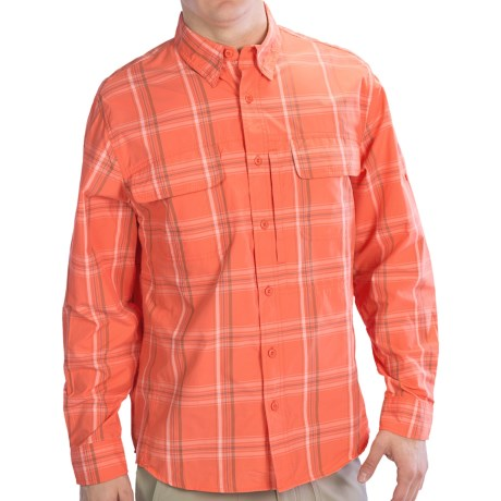 Woolrich Cross Country Pattern Tech Shirt - UPF 40+, Roll-Up Long Sleeve (For Men) in Papaya
