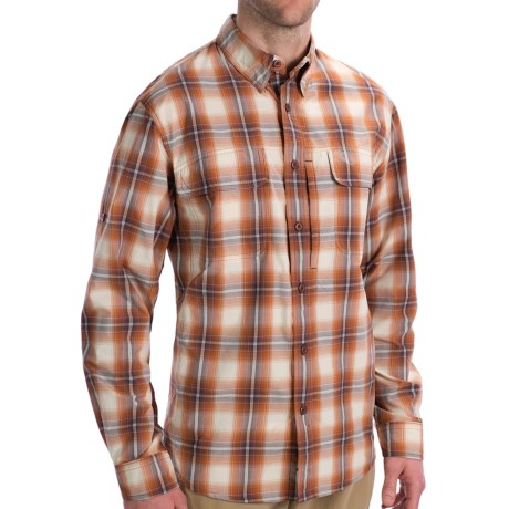 Woolrich Cross Country Pattern Tech Shirt - UPF 40+, Roll-Up Long Sleeve (For Men) in Ocean Storm