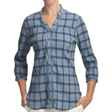 Woolrich Crystal Mountain Shirt - UPF 15, 3/4 Sleeve, Stretch Cotton Seersucker (For Women) in Light Blue Moon - Closeouts