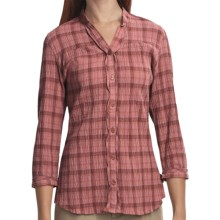 Woolrich Crystal Mountain Shirt - UPF 15, 3/4 Sleeve, Stretch Cotton Seersucker (For Women) in Light Raisin - Closeouts