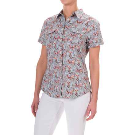 Woolrich Dauphin Printed Shirt - Stretch Cotton Poplin, Short Sleeve (For Women) in Srm Spray Multi - Closeouts