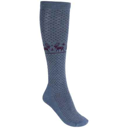 Woolrich Deer Knee-High Socks - Merino Wool, Over the Calf (For Women) in Blue Haze - Closeouts