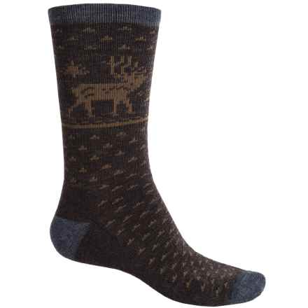 Woolrich Deer Socks - Merino Wool, Crew (For Men) in Charcoal/Java - Closeouts