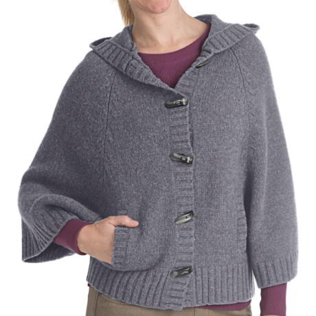 Woolrich Denton Hill Hooded Cape Cardigan Sweater - Lambswool, 3/4 Sleeve (For Women) in Charcoal
