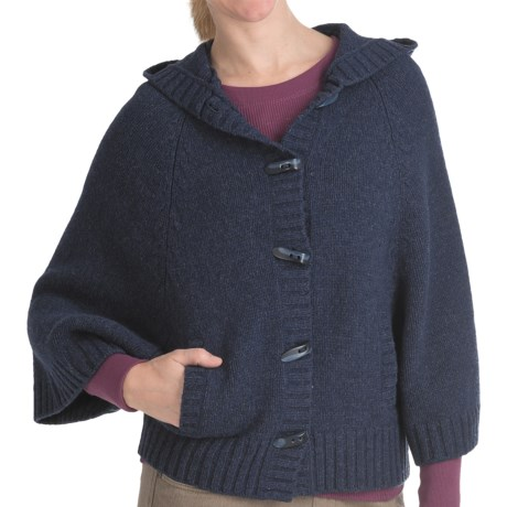 Woolrich Denton Hill Hooded Cape Cardigan Sweater - Lambswool, 3/4 Sleeve (For Women) in Deep Indigo