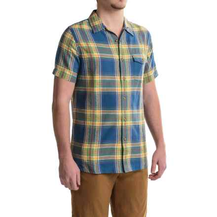 Woolrich Dobby Plaid Shirt - Short Sleeve (For Men) in Marina - Closeouts