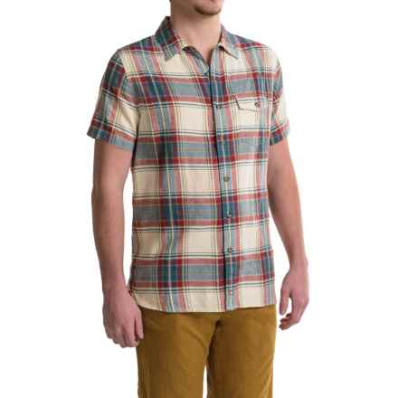 Woolrich Dobby Plaid Shirt - Short Sleeve (For Men) in Wool Cream - Closeouts