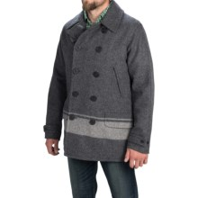 Woolrich Dock Worker Peacoat - Wool (For Men) in Grey Stripe - Closeouts
