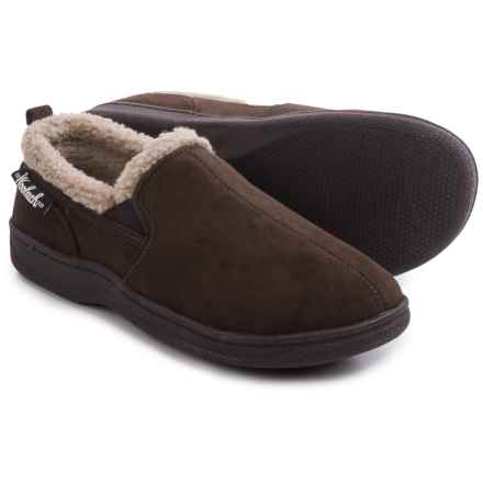 Woolrich Double-Gore Moccasin Slippers (For Men) in Chocolate - Closeouts