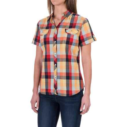 Woolrich Eaves Shirt - Short Sleeve (For Women) in Pool Blue Multi - Closeouts