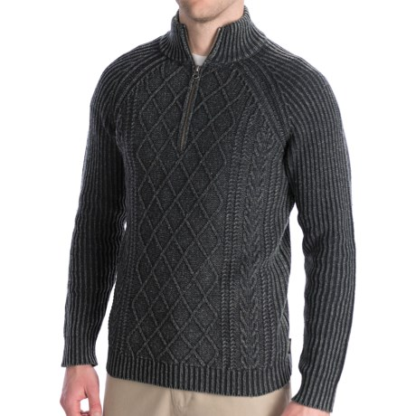 Woolrich Edgewood Sweater - Lambswool, Zip Neck, Long Sleeve (For Men) in Onyx Heather