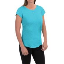 Woolrich Elemental Henley T-Shirt - Cotton, Short Sleeve (For Women) in Peacock Blue - Closeouts