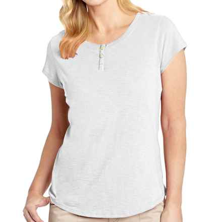 Woolrich Elemental Henley T-Shirt - Cotton, Short Sleeve (For Women) in Sea Salt - Closeouts