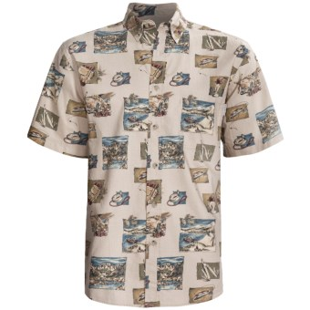 Woolrich Essex Printed Shirt - Short Sleeve (For Men) in Stone Camping Elements